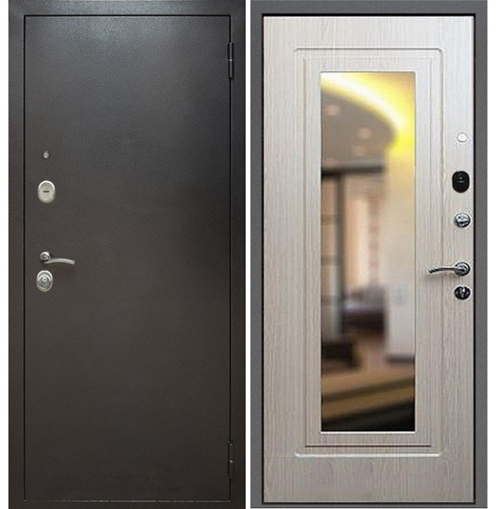 Стальная дверь Армада 2 с зеркалом (Антик серебро / Беленый дуб)