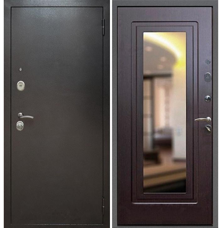 Стальная дверь Армада 2 с зеркалом (Антик серебро / Венге)