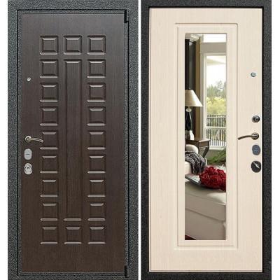 Стальная дверь Армада 4А Mottura с зеркалом (Беленый дуб)