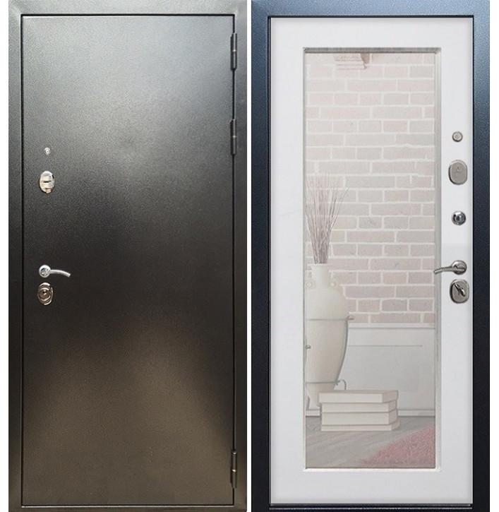 Стальная дверь Армада 5А Пастораль с зеркалом (Антик серебро / Белый ясень)