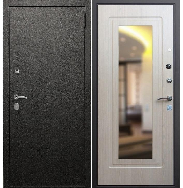 Стальная дверь Армада Верона 6 с зеркалом (Беленый дуб)