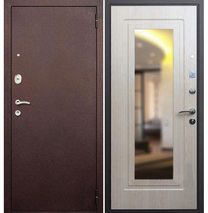 Стальная дверь Армада 1А с зеркалом (Беленый дуб)