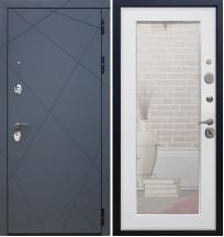 Стальная дверь Армада 13 Пастораль с зеркалом (Белый ясень)