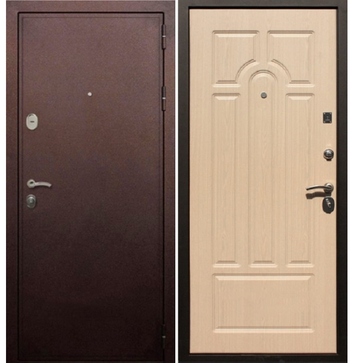 Стальная дверь Армада 5А (Антик медь / Беленый дуб)