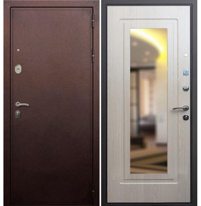 Стальная дверь Армада 5А с зеркалом (Антик медь / Беленый дуб)