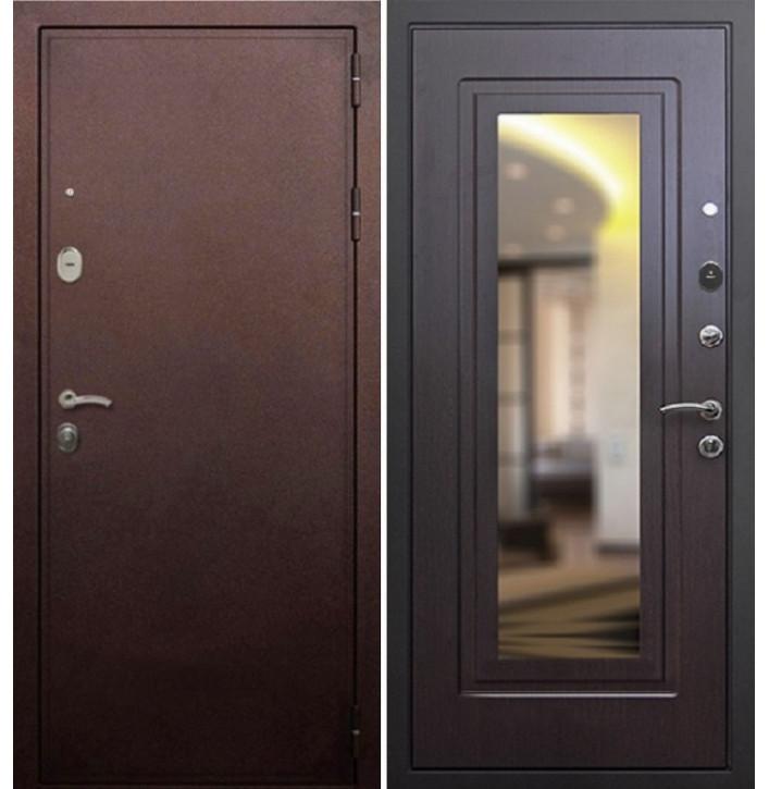 Стальная дверь Армада 5А с зеркалом (Антик медь / Венге)