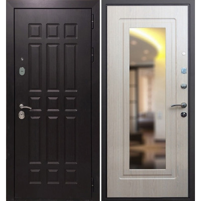 Стальная дверь Армада 8 с зеркалом (Беленый дуб)