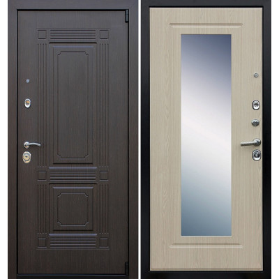 Стальная дверь Армада 9 Викинг с зеркалом (Беленый дуб)