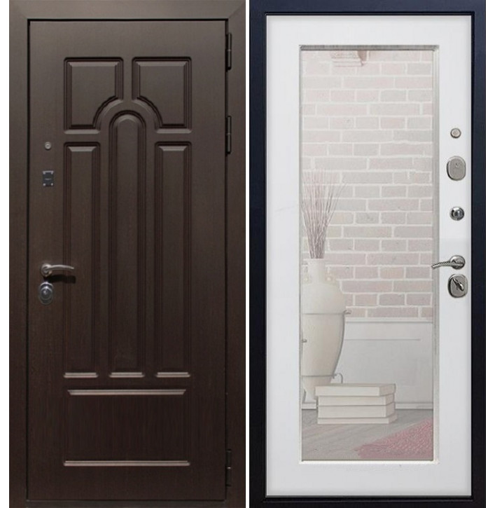 Стальная дверь Армада Эврика Пастораль с зеркало (Белый ясень)