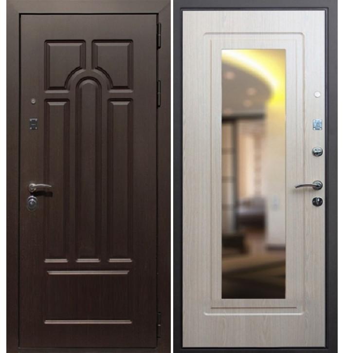 Стальная дверь Армада Эврика с зеркало (Беленый дуб)