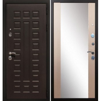Стальная дверь Армада Премиум-3 СБ-16 с зеркалом (Лиственница беж)