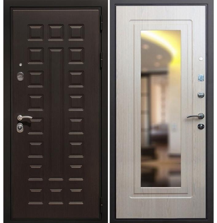 Стальная дверь Армада Премиум-3 с зеркалом (Беленый дуб)