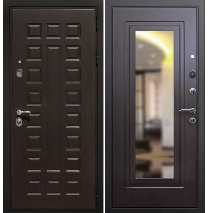 Стальная дверь Армада Премиум-3 с зеркалом (Венге)