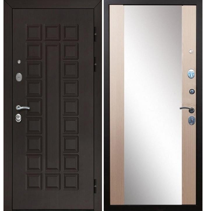 Стальная дверь Армада Сенатор СБ-16 с зеркалом (Лиственница беж)